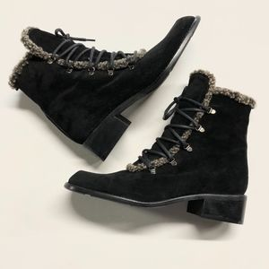 STUART WEITZMAN Suede Faux Shearling Ankle Boots